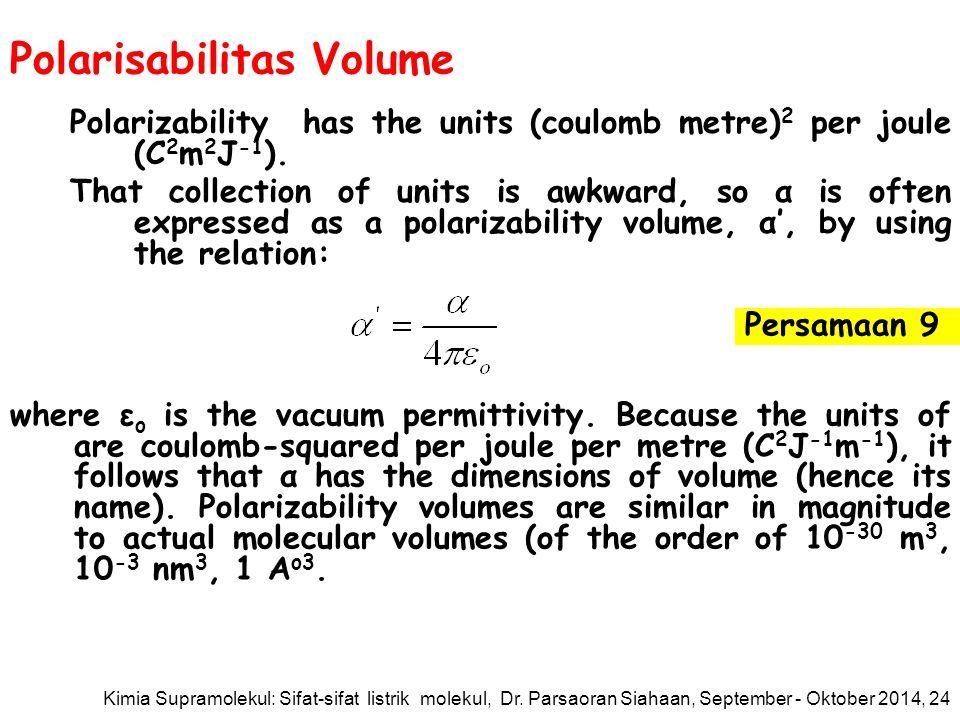 Polarisabilitas Volume Polarizability has the units (coulomb metre) 2 per joule (C 2 m 2 J -1 ).