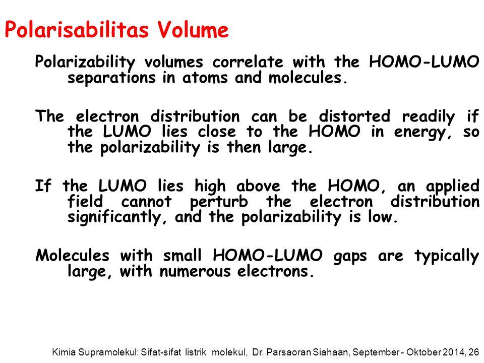 Polarisabilitas Volume Polarizability volumes correlate with the HOMO-LUMO separations in atoms and molecules.