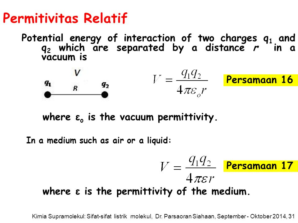 Permitivitas Relatif Potential energy of interaction of two charges q 1 and q 2 which are separated by a distance r in a vacuum is where ε o is the vacuum permittivity.