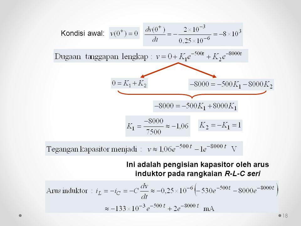 Ini adalah pengisian kapasitor oleh arus induktor pada rangkaian R-L-C seri Kondisi awal: 18
