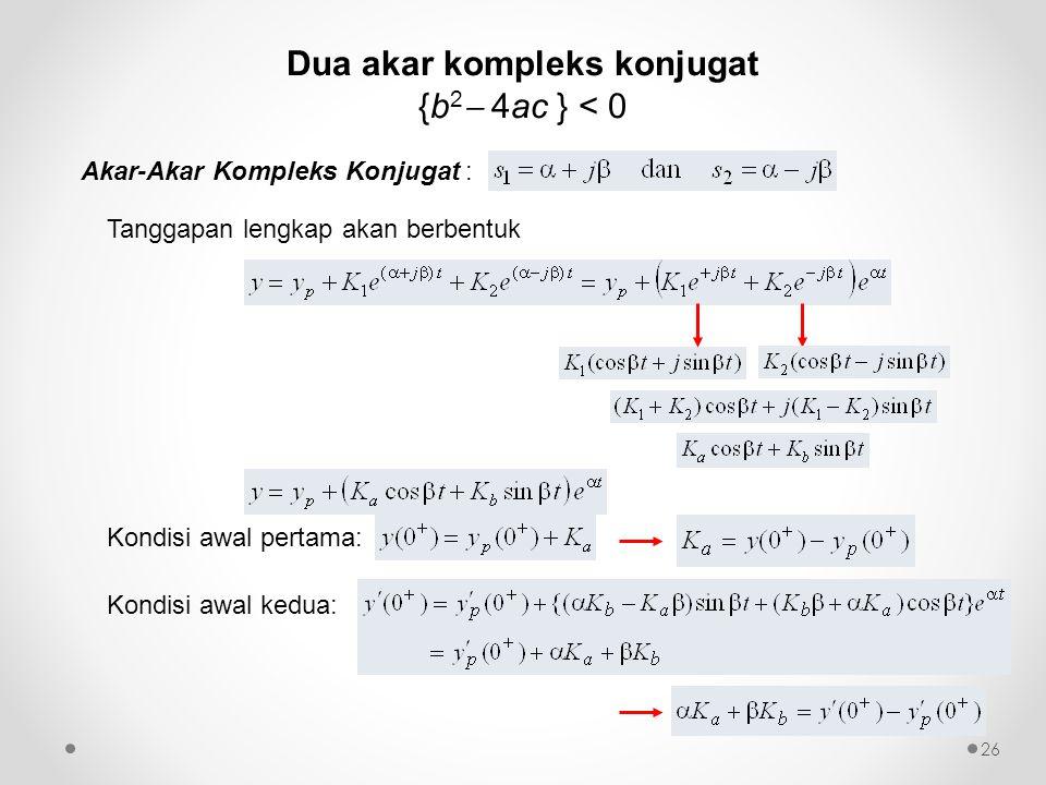 Akar-Akar Kompleks Konjugat : Tanggapan lengkap akan berbentuk Kondisi awal pertama: Kondisi awal kedua: 26 Dua akar kompleks konjugat {b 2  4ac } <