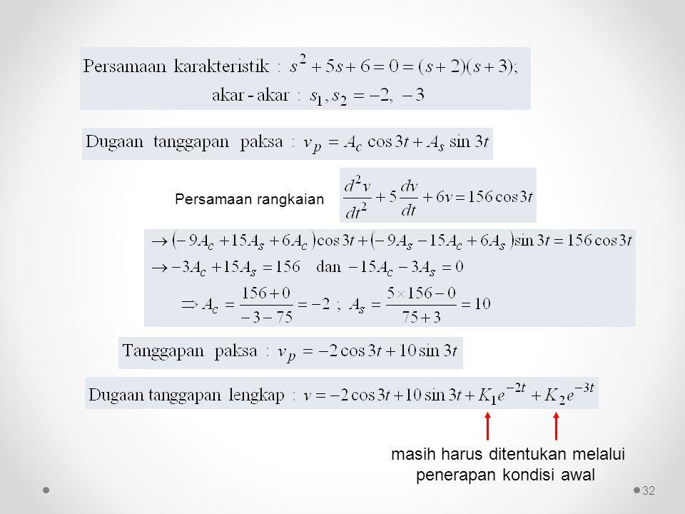 Persamaan rangkaian masih harus ditentukan melalui penerapan kondisi awal 32