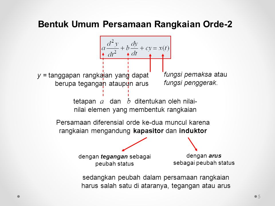 Bentuk Umum Persamaan Rangkaian Orde-2 tetapan a dan b ditentukan oleh nilai- nilai elemen yang membentuk rangkaian fungsi pemaksa atau fungsi pengger