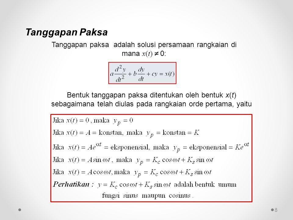 Tanggapan paksa adalah solusi persamaan rangkaian di mana x(t)  0: Bentuk tanggapan paksa ditentukan oleh bentuk x(t) sebagaimana telah diulas pada r