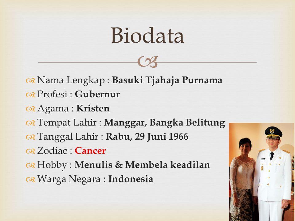   Nama Lengkap : Basuki Tjahaja Purnama  Profesi : Gubernur  Agama : Kristen  Tempat Lahir : Manggar, Bangka Belitung  Tanggal Lahir : Rabu, 29 Juni 1966  Zodiac : Cancer  Hobby : Menulis & Membela keadilan  Warga Negara : Indonesia Biodata