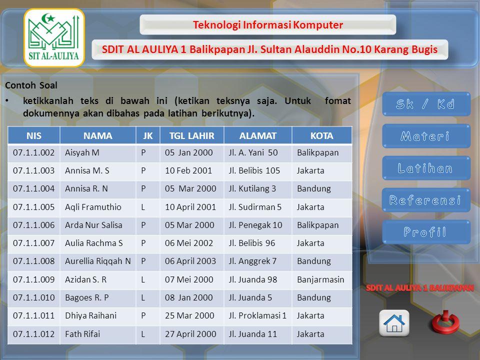 Teknologi Informasi Komputer SDIT AL AULIYA 1 Balikpapan Jl. Sultan Alauddin No.10 Karang Bugis Contoh Soal ketikkanlah teks di bawah ini (ketikan tek