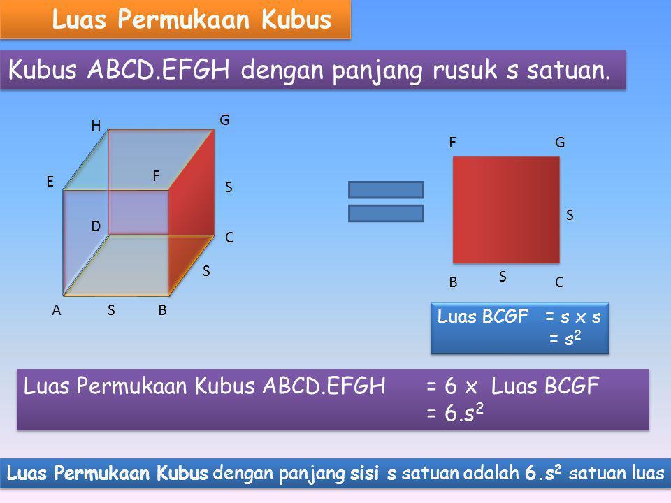 Luas Permukaan Kubus Kubus ABCD.EFGH dengan panjang rusuk s satuan.