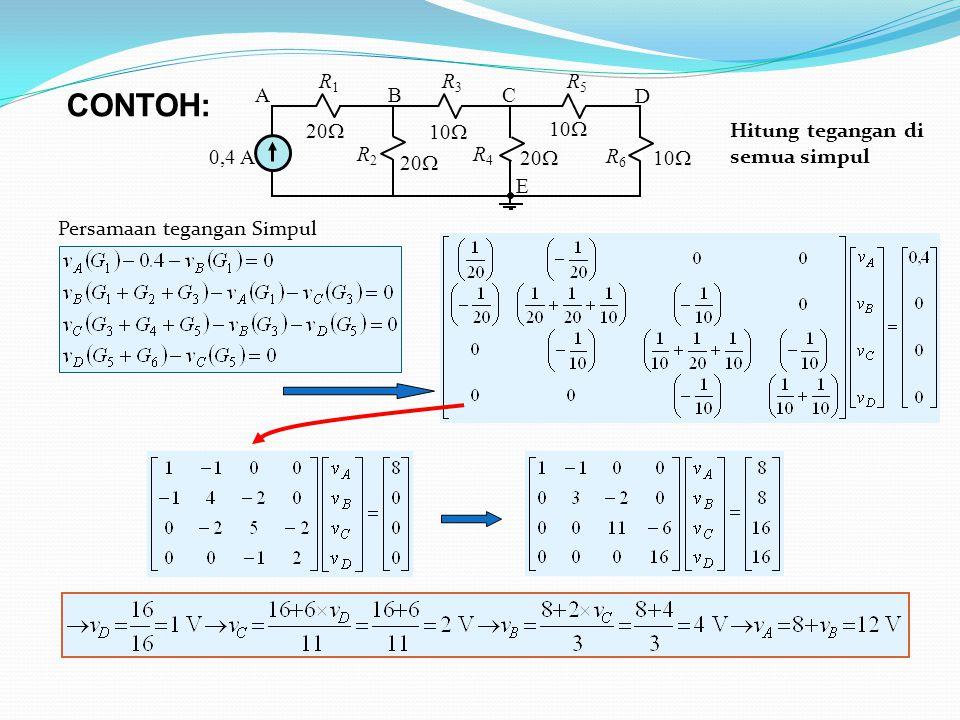 10  0,4 A 20  10  20  10  ABC D E R1R1 R3R3 R5R5 R 2 R 4 R 6 CONTOH: Hitung tegangan di semua simpul Persamaan tegangan Simpul