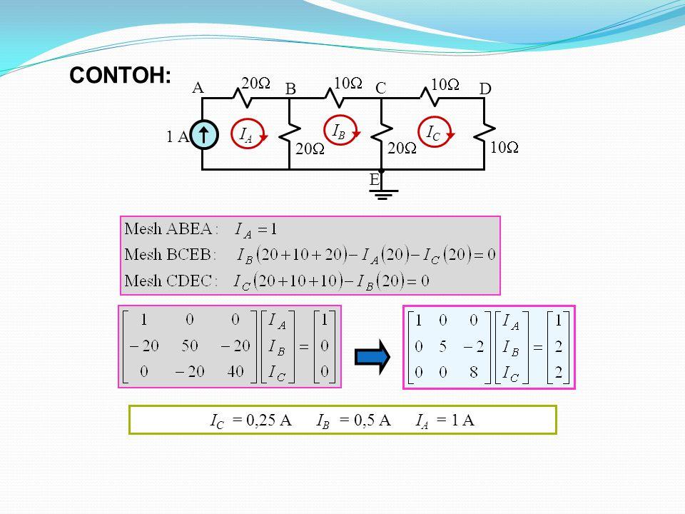 10  1 A 20  10  20  10  A B C D E IAIA IBIB ICIC I C = 0,25 A I B = 0,5 A I A = 1 A CONTOH: