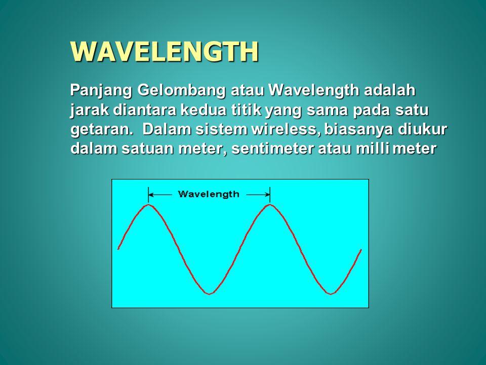Frequency dan Wavelength digambarkan dalam persamaan : dimana : = wavelength dalam meters = wavelength dalam meters f = frequency dalam Hertz (getaran/detik) c = kecepatan cahaya (3X10 8 meter/detik) Frequency dan Wavelength