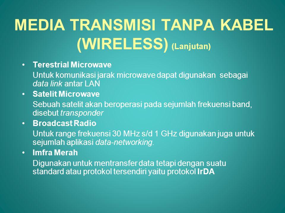 Terestrial Microwave Untuk komunikasi jarak microwave dapat digunakan sebagai data link antar LAN Satelit Microwave Sebuah satelit akan beroperasi pad