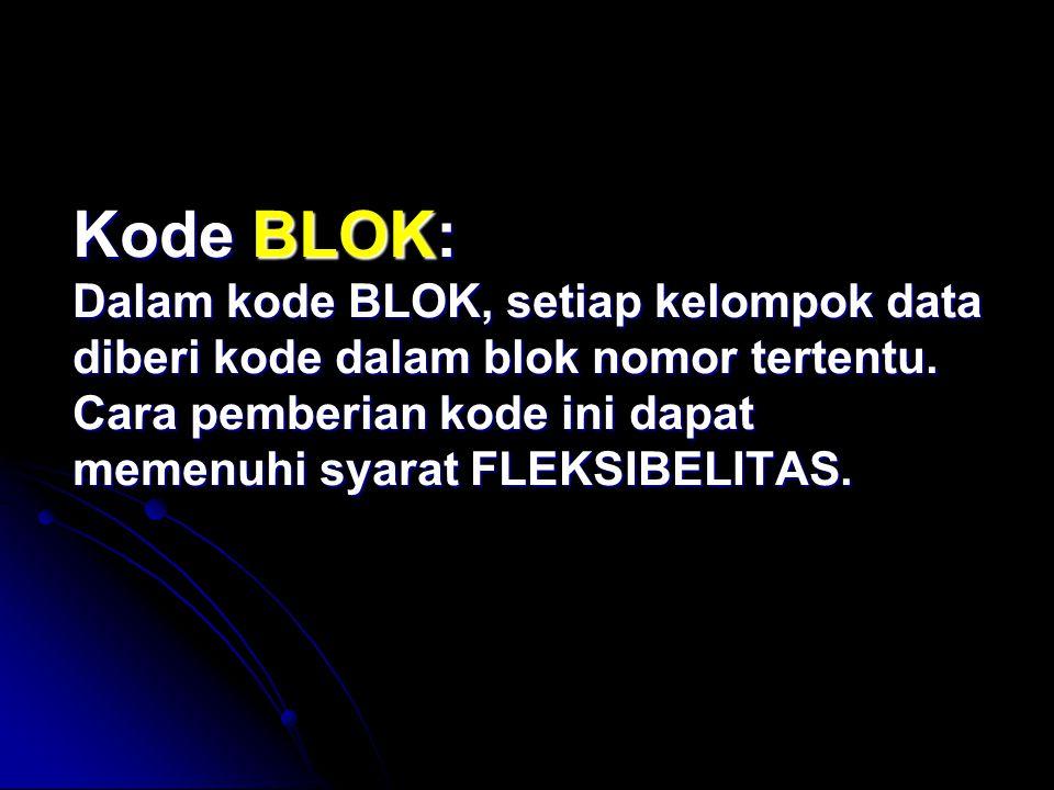 Kode BLOK: Dalam kode BLOK, setiap kelompok data diberi kode dalam blok nomor tertentu. Cara pemberian kode ini dapat memenuhi syarat FLEKSIBELITAS.