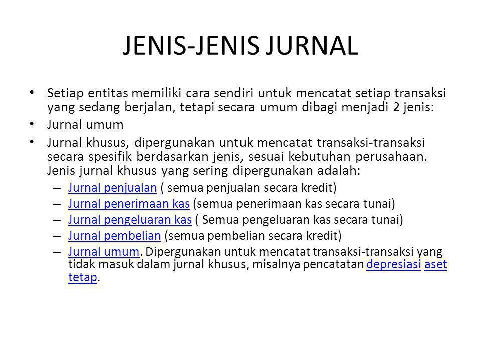 JENIS-JENIS JURNAL Setiap entitas memiliki cara sendiri untuk mencatat setiap transaksi yang sedang berjalan, tetapi secara umum dibagi menjadi 2 jenis: Jurnal umum Jurnal khusus, dipergunakan untuk mencatat transaksi-transaksi secara spesifik berdasarkan jenis, sesuai kebutuhan perusahaan.
