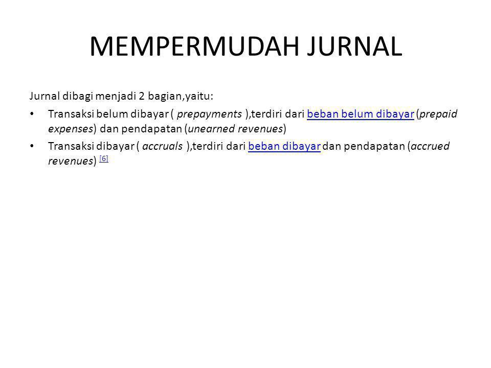 MEMPERMUDAH JURNAL Jurnal dibagi menjadi 2 bagian,yaitu: Transaksi belum dibayar ( prepayments ),terdiri dari beban belum dibayar (prepaid expenses) d