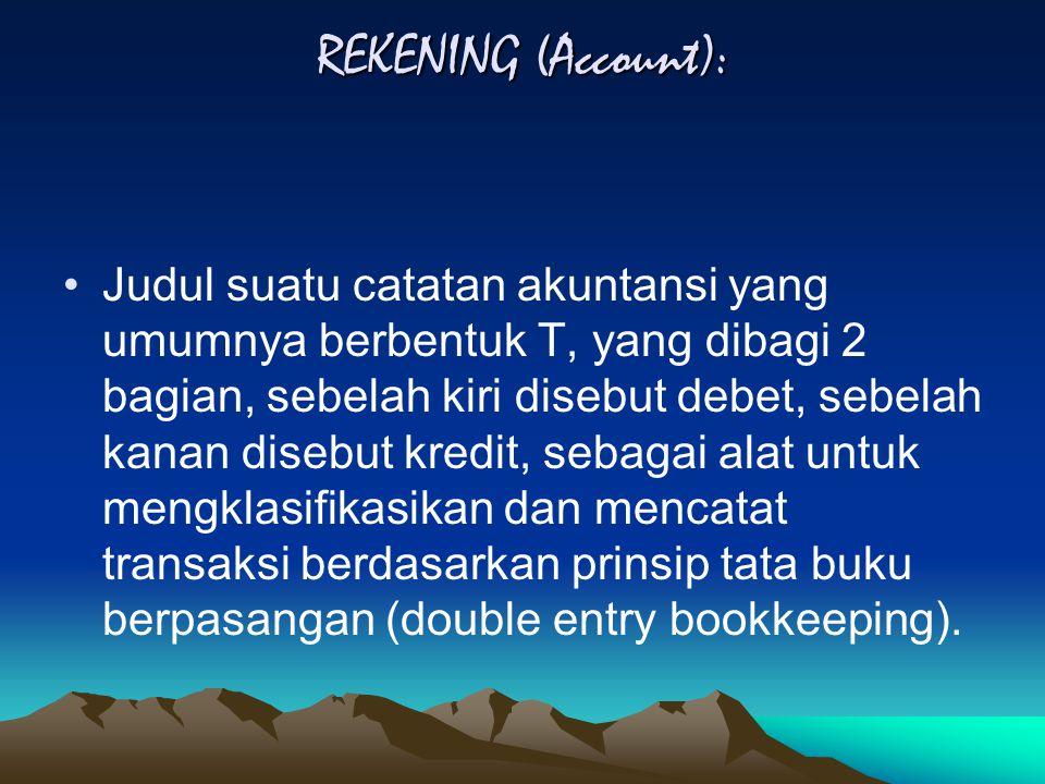 REKENING (Account): Judul suatu catatan akuntansi yang umumnya berbentuk T, yang dibagi 2 bagian, sebelah kiri disebut debet, sebelah kanan disebut kredit, sebagai alat untuk mengklasifikasikan dan mencatat transaksi berdasarkan prinsip tata buku berpasangan (double entry bookkeeping).