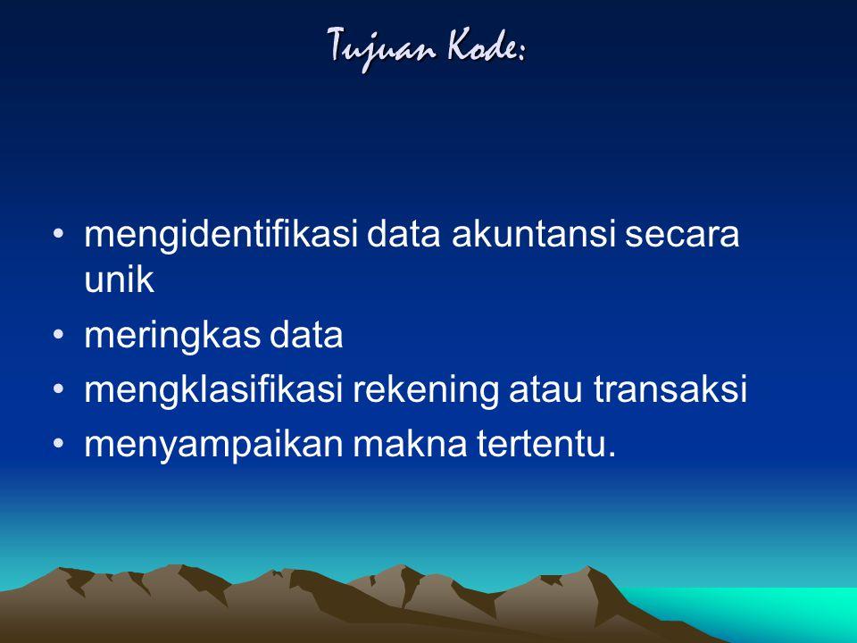 Tujuan Kode: mengidentifikasi data akuntansi secara unik meringkas data mengklasifikasi rekening atau transaksi menyampaikan makna tertentu.