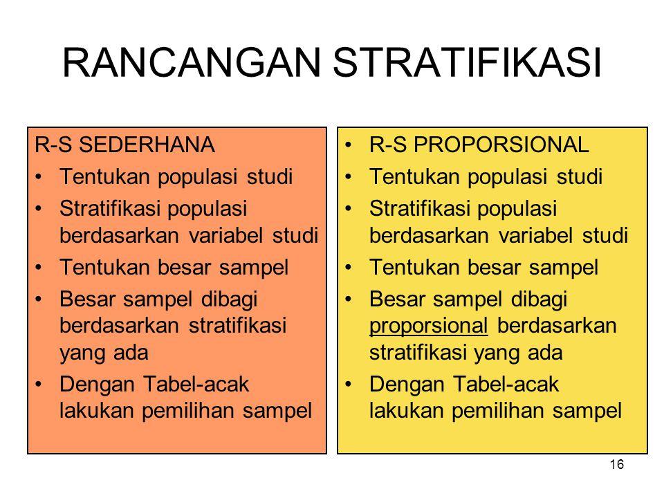 16 RANCANGAN STRATIFIKASI R-S SEDERHANA Tentukan populasi studi Stratifikasi populasi berdasarkan variabel studi Tentukan besar sampel Besar sampel di