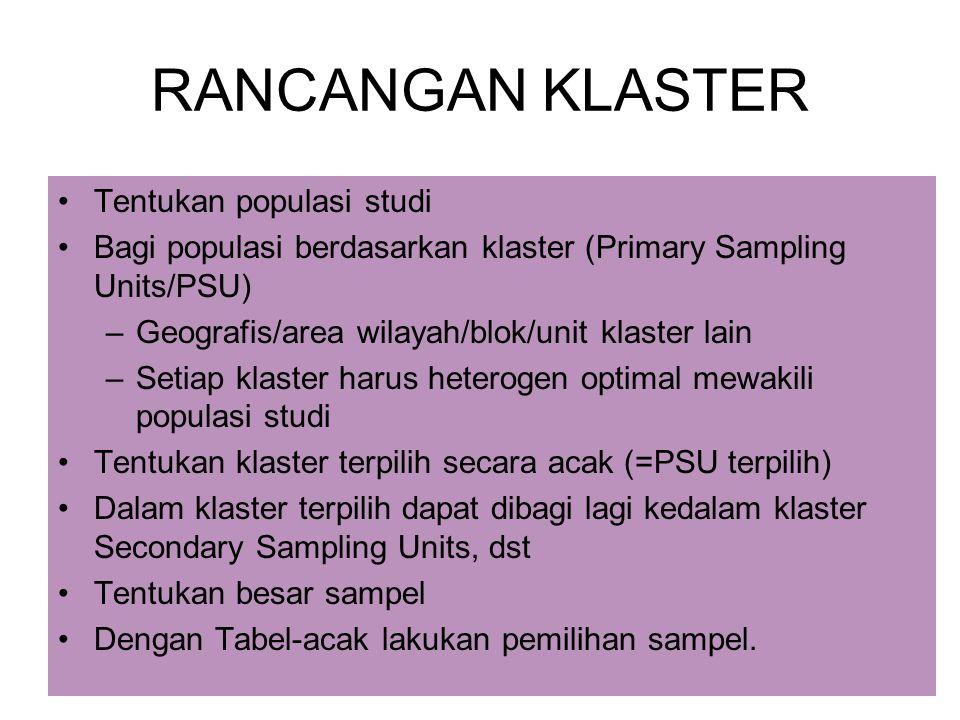 17 RANCANGAN KLASTER Tentukan populasi studi Bagi populasi berdasarkan klaster (Primary Sampling Units/PSU) –Geografis/area wilayah/blok/unit klaster