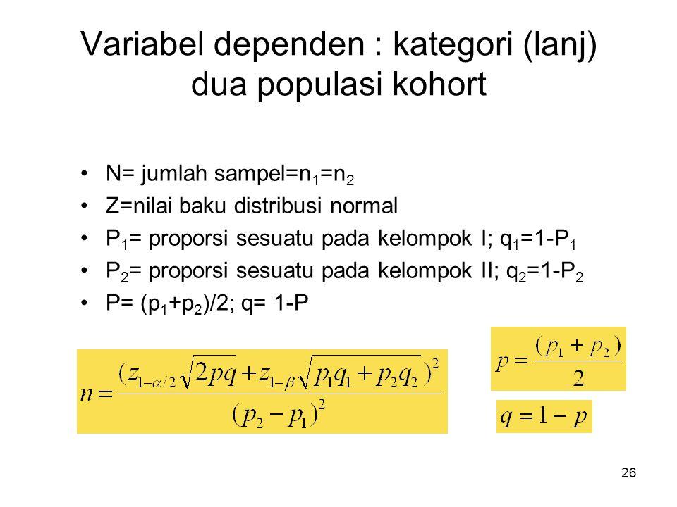 26 Variabel dependen : kategori (lanj) dua populasi kohort N= jumlah sampel=n 1 =n 2 Z=nilai baku distribusi normal P 1 = proporsi sesuatu pada kelompok I; q 1 =1-P 1 P 2 = proporsi sesuatu pada kelompok II; q 2 =1-P 2 P= (p 1 +p 2 )/2; q= 1-P