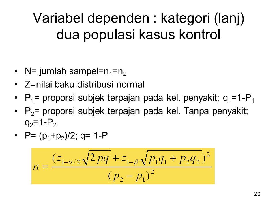 29 Variabel dependen : kategori (lanj) dua populasi kasus kontrol N= jumlah sampel=n 1 =n 2 Z=nilai baku distribusi normal P 1 = proporsi subjek terpa