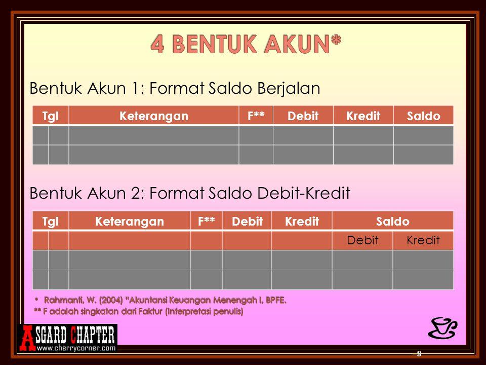 Bentuk Akun 1: Format Saldo Berjalan Bentuk Akun 2: Format Saldo Debit-Kredit –8–8 TglKeteranganF**DebitKreditSaldo TglKeteranganF**DebitKreditSaldo D