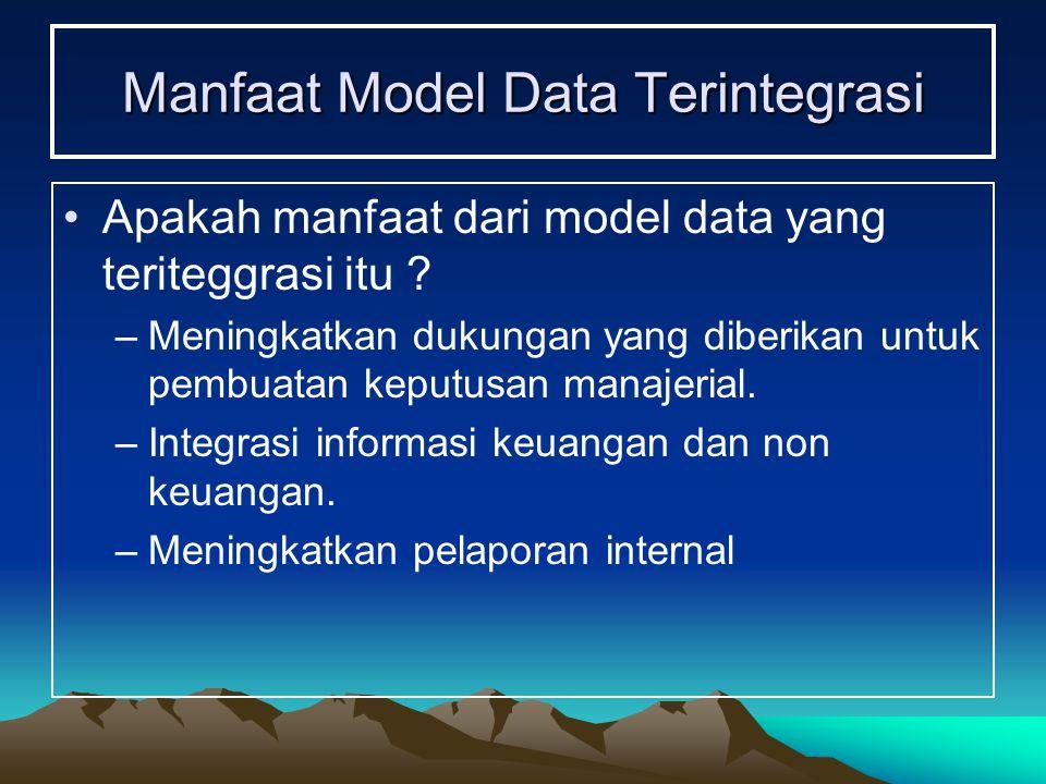 Manfaat Model Data Terintegrasi Apakah manfaat dari model data yang teriteggrasi itu ? –Meningkatkan dukungan yang diberikan untuk pembuatan keputusan