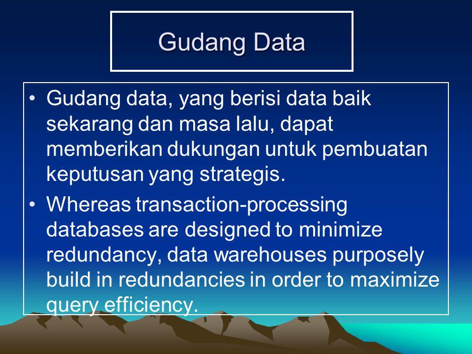 Gudang Data Gudang data, yang berisi data baik sekarang dan masa lalu, dapat memberikan dukungan untuk pembuatan keputusan yang strategis. Whereas tra