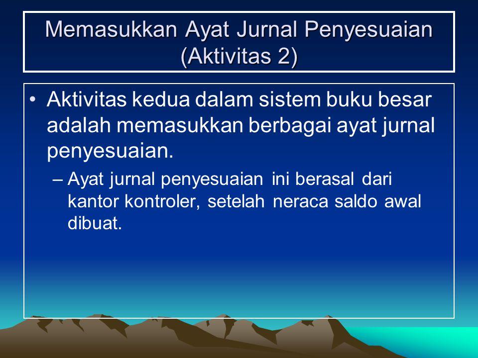 Memasukkan Ayat Jurnal Penyesuaian (Aktivitas 2) Aktivitas kedua dalam sistem buku besar adalah memasukkan berbagai ayat jurnal penyesuaian. –Ayat jur