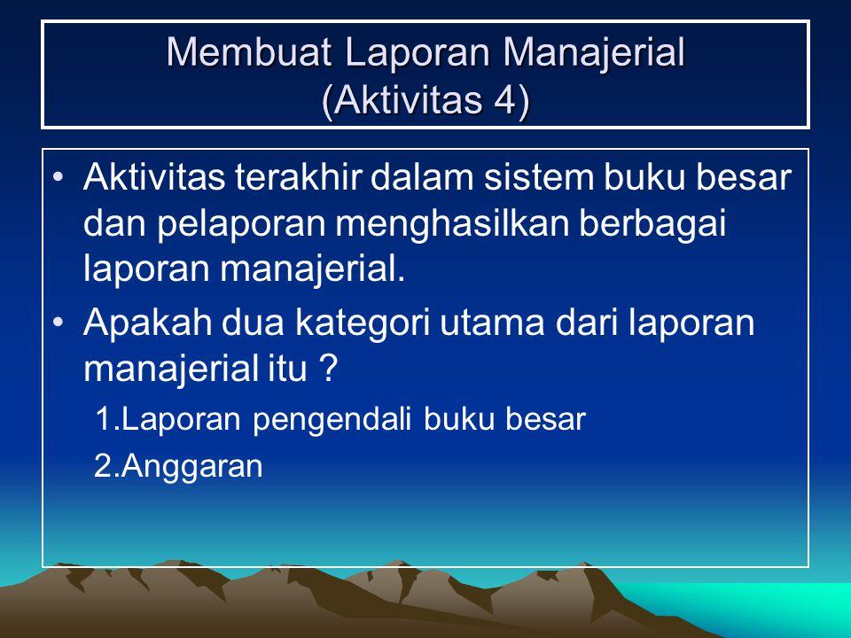 Membuat Laporan Manajerial (Aktivitas 4) Aktivitas terakhir dalam sistem buku besar dan pelaporan menghasilkan berbagai laporan manajerial. Apakah dua