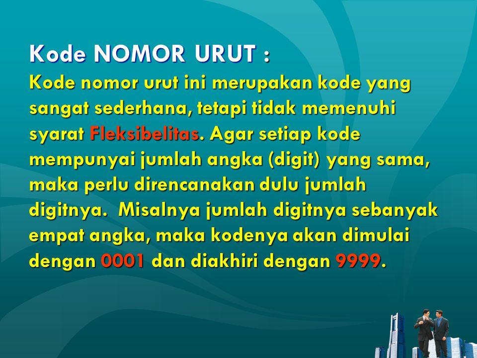 Kode NOMOR URUT : Kode nomor urut ini merupakan kode yang sangat sederhana, tetapi tidak memenuhi syarat Fleksibelitas. Agar setiap kode mempunyai jum