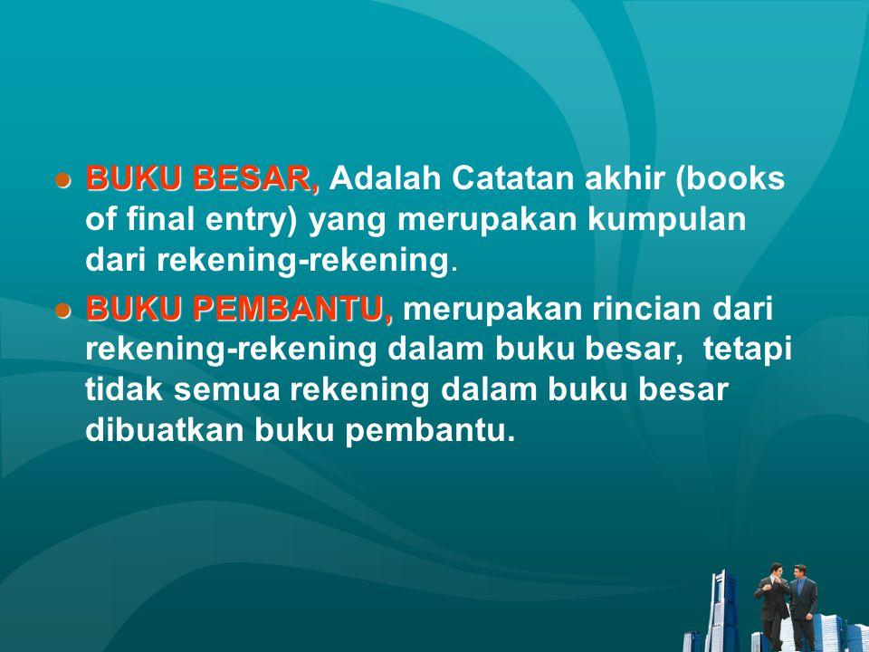 ●BUKU BESAR, ●BUKU BESAR, Adalah Catatan akhir (books of final entry) yang merupakan kumpulan dari rekening-rekening. ●BUKU PEMBANTU, ●BUKU PEMBANTU,