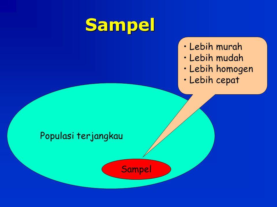 Sampel Populasi terjangkau Sampel Lebih murah Lebih mudah Lebih homogen Lebih cepat
