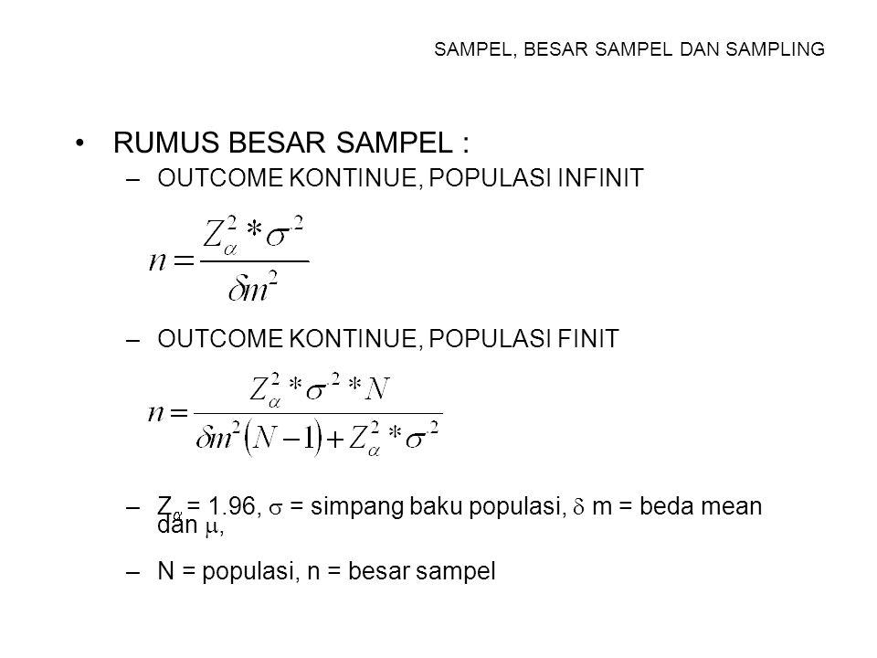 SAMPEL, BESAR SAMPEL DAN SAMPLING RUMUS BESAR SAMPEL UNTUK UJI HIPOTESIS –OUTCOME KONTINU, EKSPERIMEN MURNI n = BESAR SAMPEL TIAP KELOMPOK Z  = DEVIASI STANDART UNTUK  = 0.05 1.96 Z  = DEVIASI STANDART UNTUK  = 0.10 1.28 X t = MEAN KEL EKSPERIMEN X c = MEAN KEL KONTROL S c = SIMPANG BAKU KONTROL f = PROPORSI KEGAGALAN