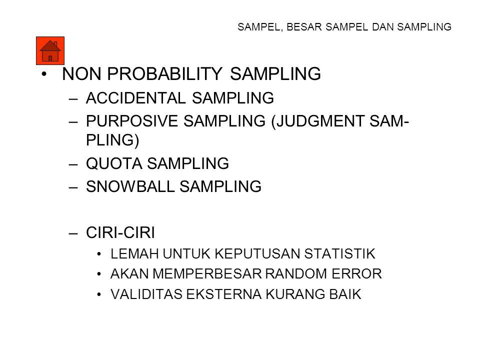 SAMPEL, BESAR SAMPEL DAN SAMPLING TEKNIK SAMPLING PROBABILITY SAMPLING –SIMPLE RANDOM SAMPLING POPULASI HOMOGEN –SYSTEMATIC RANDOM SAMPLING POPULASI HOMOGEN –STRATIFIED RANDOM SAMPLING POPULASI HETEROGEN –CLUSTER SAMPLING POPULASI TERPENCAR > DAERAH –MULTISTAGE SAMPLING BERTAHAP, STRATA DULU BARU RAMBANG