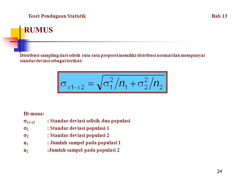 24 RUMUS Distribusi sampling dari selisih rata-rata proporsi memiliki distribusi normal dan mempunyai standar deviasi sebagai berikut: Di mana:  x1-x