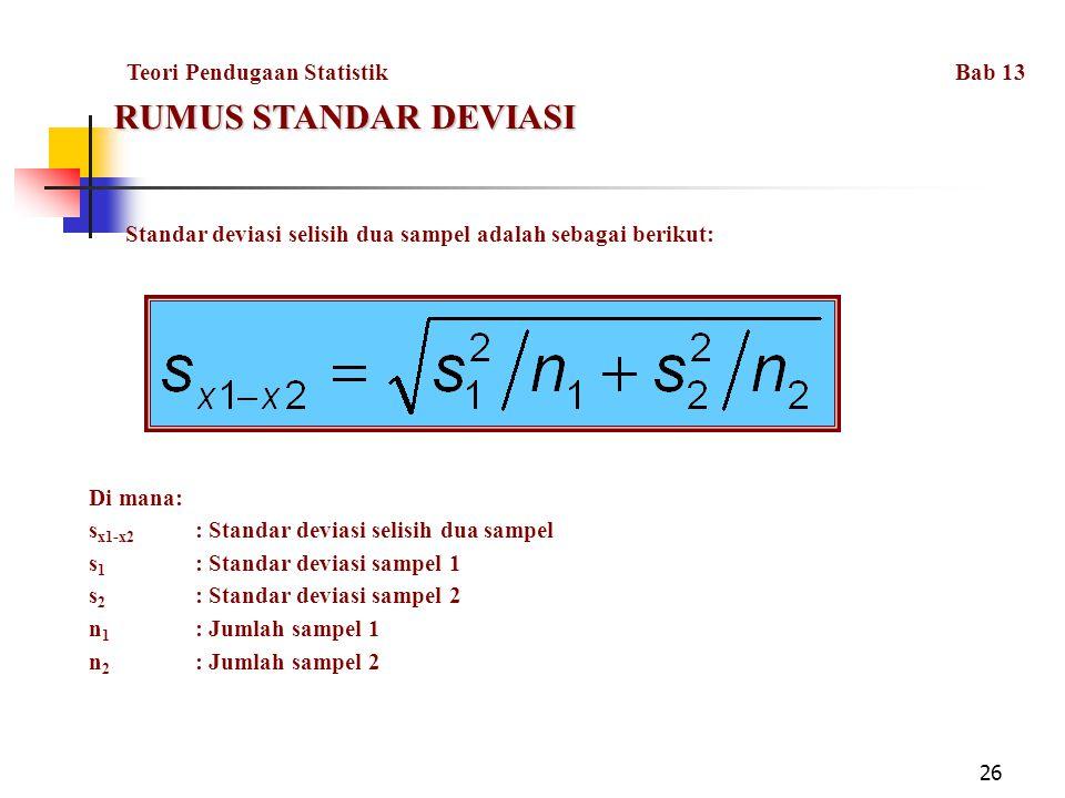 26 RUMUS STANDAR DEVIASI Standar deviasi selisih dua sampel adalah sebagai berikut: Di mana: s x1-x2 : Standar deviasi selisih dua sampel s 1 : Standar deviasi sampel 1 s 2 : Standar deviasi sampel 2 n 1 : Jumlah sampel 1 n 2 : Jumlah sampel 2 Teori Pendugaan Statistik Bab 13