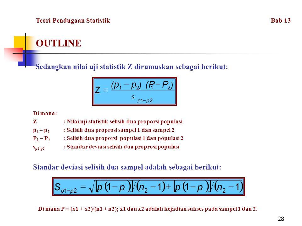 28 OUTLINE Sedangkan nilai uji statistik Z dirumuskan sebagai berikut:  P(Pp(p  Di mana: Z: Nilai uji statistik selisih dua proporsi populasi p 1 – p 2 : Selisih dua proprosi sampel 1 dan sampel 2 P 1 – P 2 : Selisih dua proporsi populasi 1 dan populasi 2 s p1-p2 : Standar deviasi selisih dua proprosi populasi Standar deviasi selisih dua sampel adalah sebagai berikut:      1111 2221   nppnppS pp Di mana P = (x1 + x2)/(n1 + n2); x1 dan x2 adalah kejadian sukses pada sampel 1 dan 2.