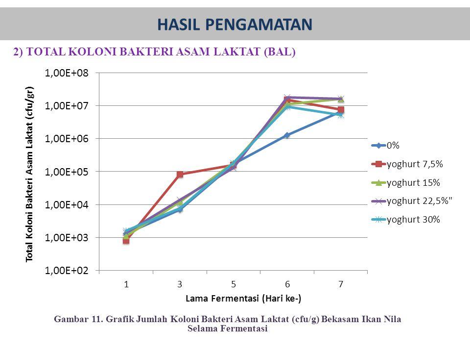 2) TOTAL KOLONI BAKTERI ASAM LAKTAT (BAL) Gambar 11. Grafik Jumlah Koloni Bakteri Asam Laktat (cfu/g) Bekasam Ikan Nila Selama Fermentasi HASIL PENGAM