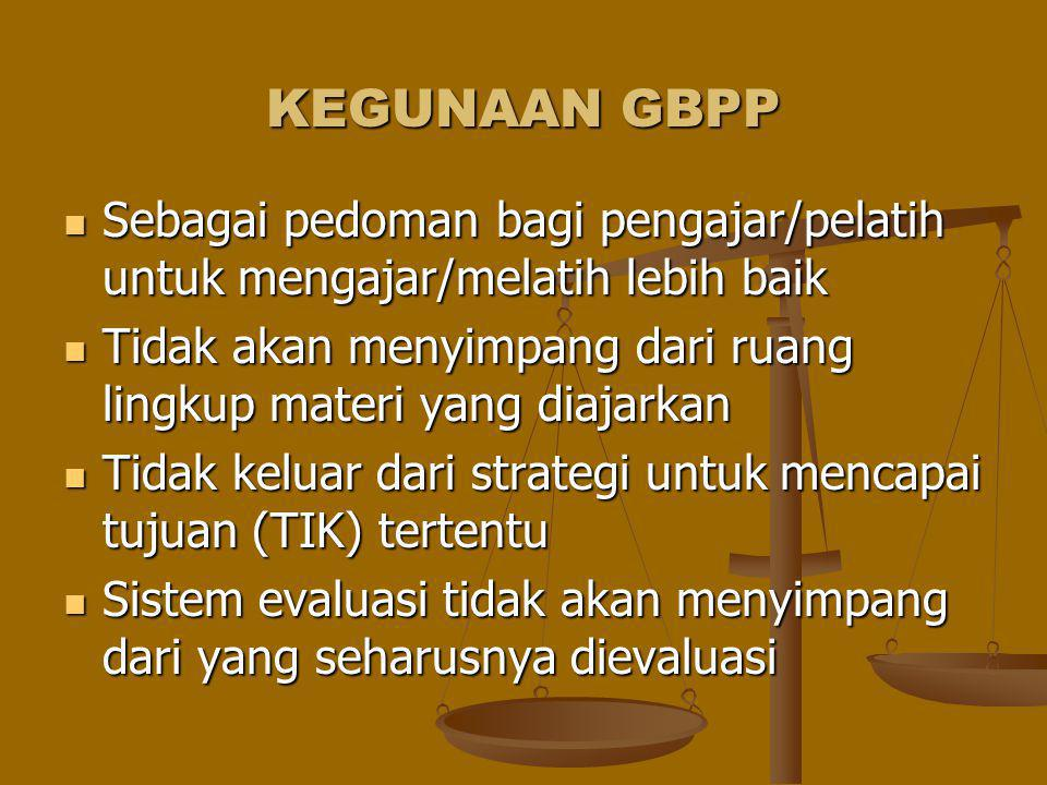 KEGUNAAN GBPP Sebagai pedoman bagi pengajar/pelatih untuk mengajar/melatih lebih baik Sebagai pedoman bagi pengajar/pelatih untuk mengajar/melatih leb