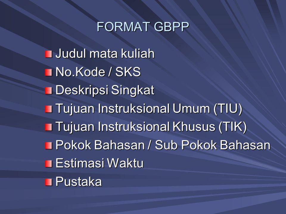 FORMAT GBPP Judul mata kuliah No.Kode / SKS Deskripsi Singkat Tujuan Instruksional Umum (TIU) Tujuan Instruksional Khusus (TIK) Pokok Bahasan / Sub Po