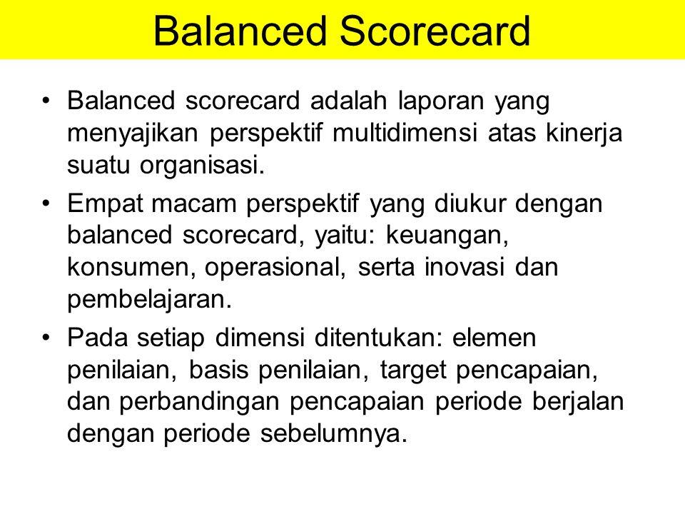 Balanced Scorecard Balanced scorecard adalah laporan yang menyajikan perspektif multidimensi atas kinerja suatu organisasi. Empat macam perspektif yan