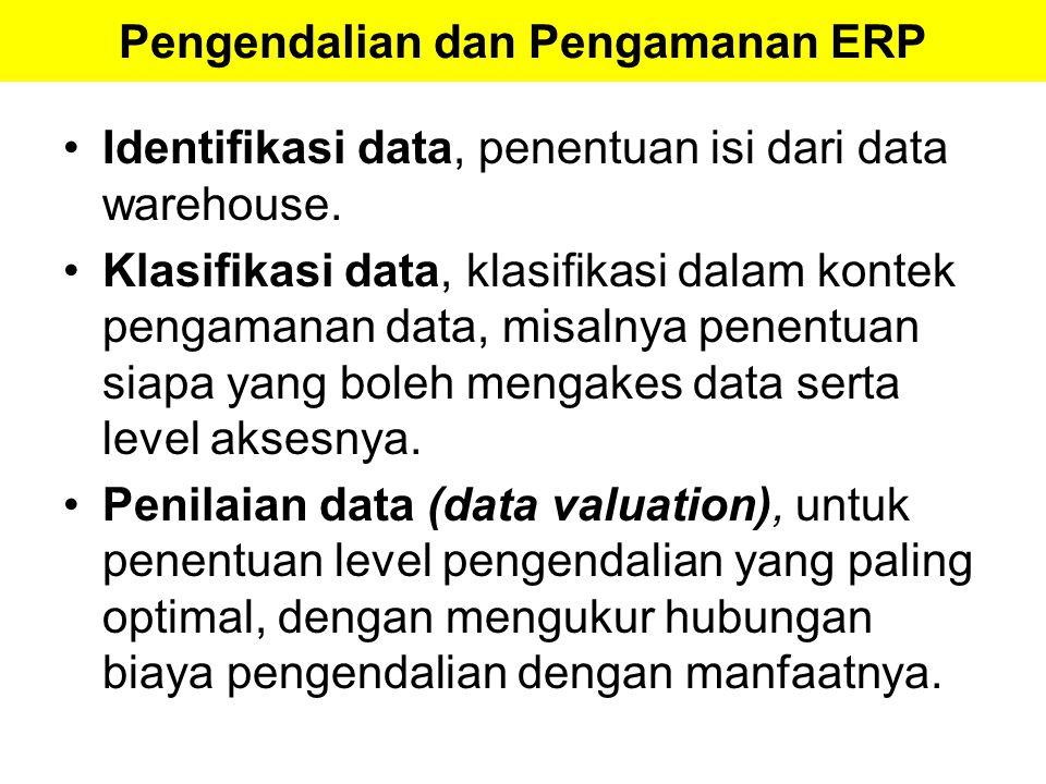 Pengendalian dan Pengamanan ERP Identifikasi data, penentuan isi dari data warehouse. Klasifikasi data, klasifikasi dalam kontek pengamanan data, misa