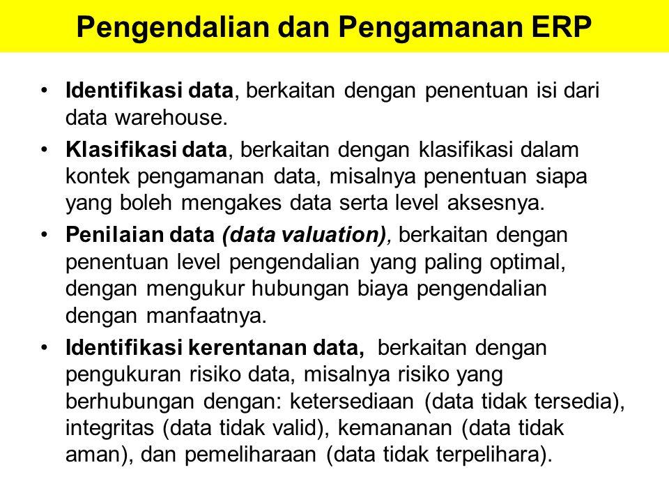Pengendalian dan Pengamanan ERP Identifikasi data, berkaitan dengan penentuan isi dari data warehouse. Klasifikasi data, berkaitan dengan klasifikasi