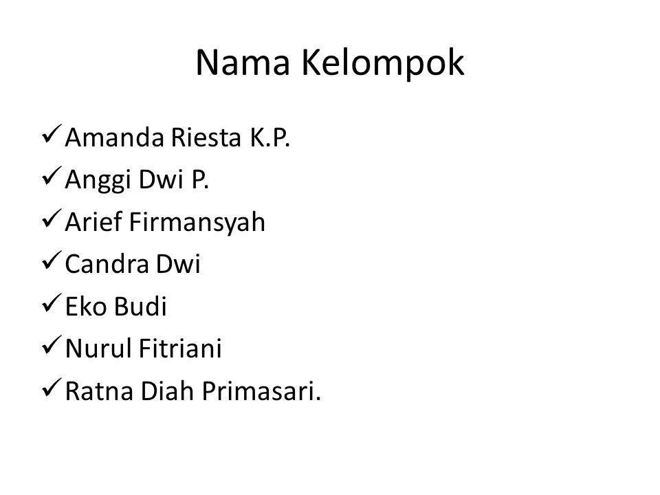 Nama Kelompok Amanda Riesta K.P. Anggi Dwi P. Arief Firmansyah Candra Dwi Eko Budi Nurul Fitriani Ratna Diah Primasari.