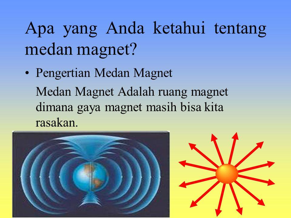 Apa yang Anda ketahui tentang medan magnet? Pengertian Medan Magnet Medan Magnet Adalah ruang magnet dimana gaya magnet masih bisa kita rasakan.
