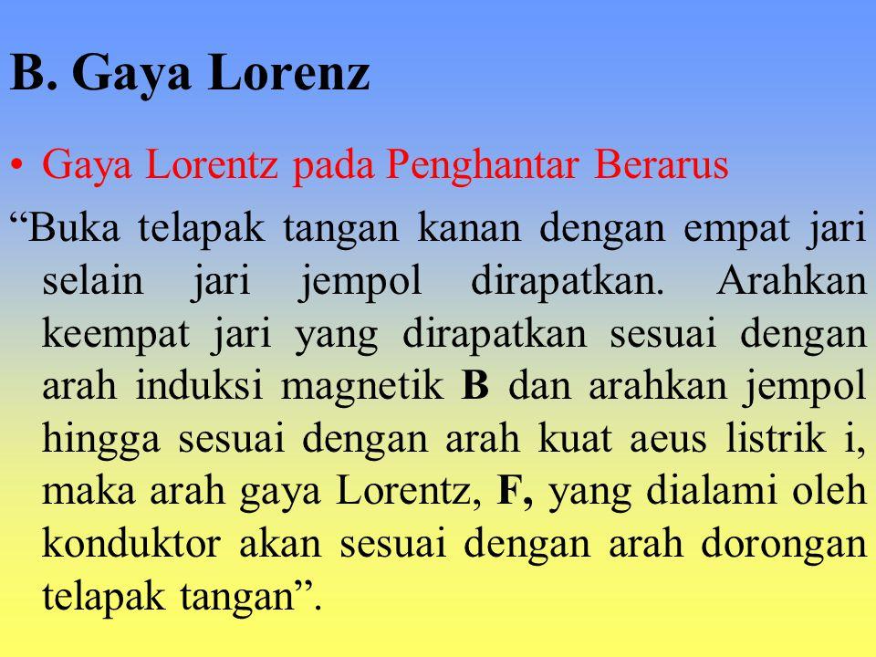 "B. Gaya Lorenz Gaya Lorentz pada Penghantar Berarus ""Buka telapak tangan kanan dengan empat jari selain jari jempol dirapatkan. Arahkan keempat jari y"