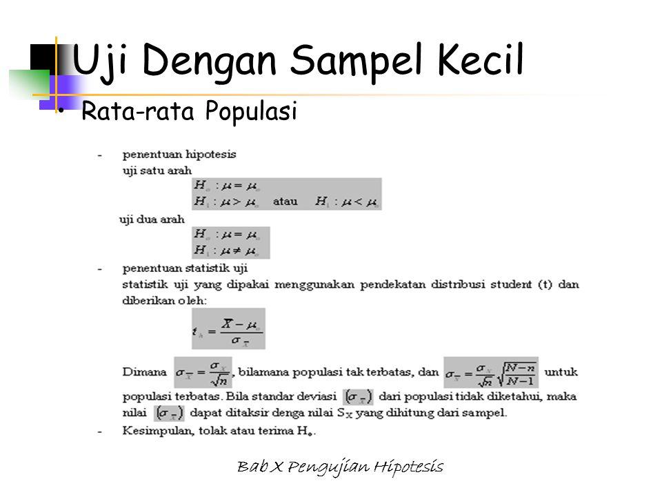 Bab X Pengujian Hipotesis Uji Dengan Sampel Kecil Rata-rata Populasi