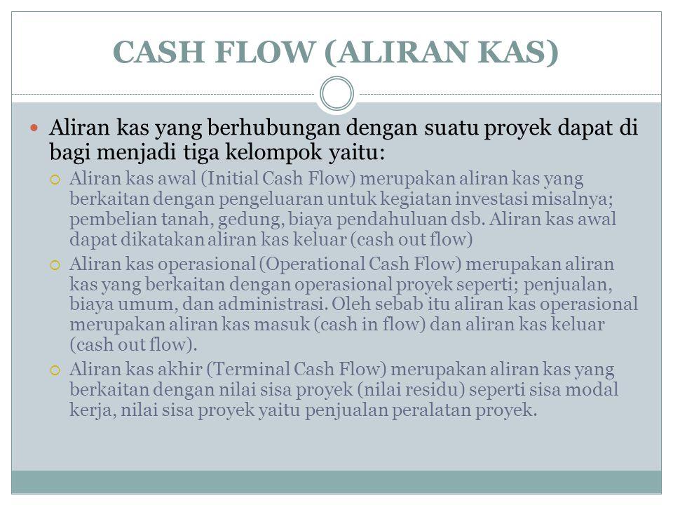 CASH FLOW (ALIRAN KAS) Aliran kas yang berhubungan dengan suatu proyek dapat di bagi menjadi tiga kelompok yaitu:  Aliran kas awal (Initial Cash Flow) merupakan aliran kas yang berkaitan dengan pengeluaran untuk kegiatan investasi misalnya; pembelian tanah, gedung, biaya pendahuluan dsb.