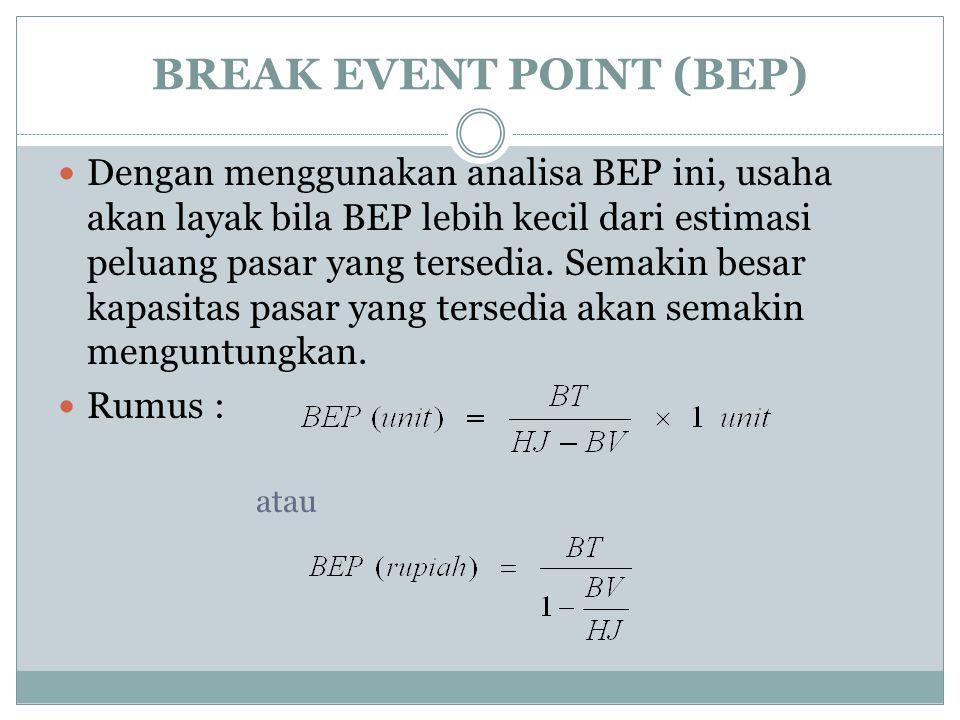 BREAK EVENT POINT (BEP) Dengan menggunakan analisa BEP ini, usaha akan layak bila BEP lebih kecil dari estimasi peluang pasar yang tersedia.
