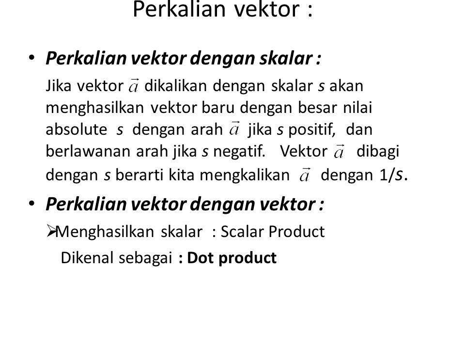 Perkalian vektor : Perkalian vektor dengan skalar : Jika vektor dikalikan dengan skalar s akan menghasilkan vektor baru dengan besar nilai absolute s